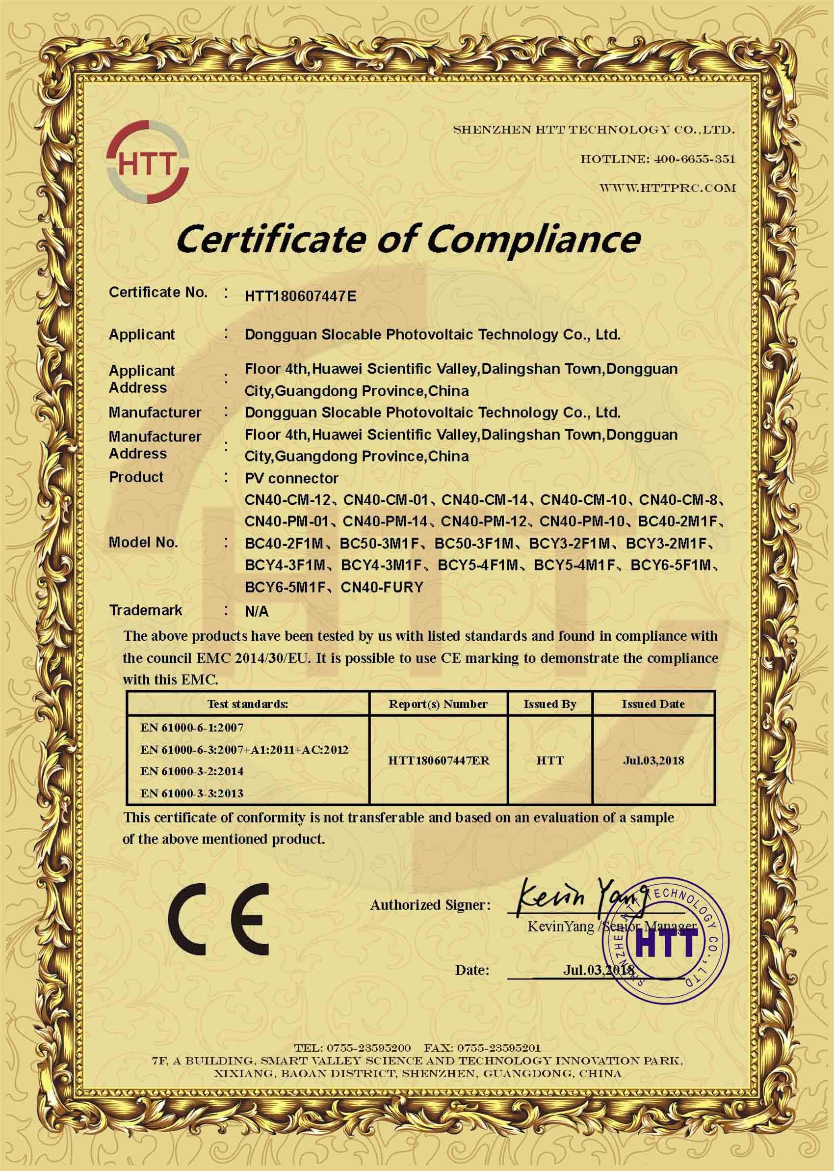 CE EMC for Solar Connector